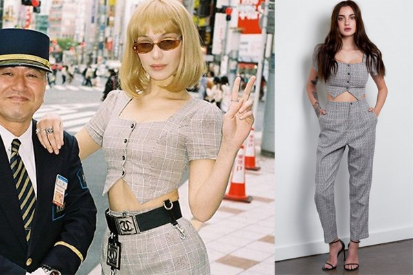 "Bella Hadid wears the 'Carmine' Set in Tokyo in April, accessorised with a vintage Chanel belt.  <br><br> *['Carmine' top and trouser set](https://www.prettefashion.com/p/carmine-set|target=""_blank""|rel=""nofollow""), AU$93.00 at Prêtte* <br><br> *Image: [Instagram](https://www.instagram.com/p/BhVoLOygYXc/?taken-by=rebekkaharajuku|target=""_blank""|rel=""nofollow"")/Prêtte*"