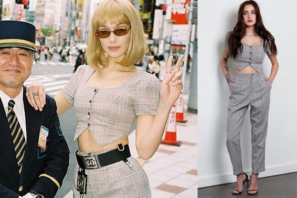 "Bella Hadid wears the 'Carmine' Set in Tokyo in April, accessorised with a vintage Chanel belt.  <br><br> *['Carmine' top and trouser set](https://www.prettefashion.com/p/carmine-set|target=""_blank""