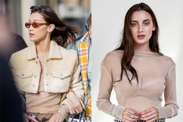 "Bella Hadid wears the 'See Through Me' Mesh Top in Gold Glitter at Milan Fashion Week.  <br><br> *['See Through Me' Mesh Top](https://www.prettefashion.com/p/see-through-me-top---gold-glitter|target=""_blank""