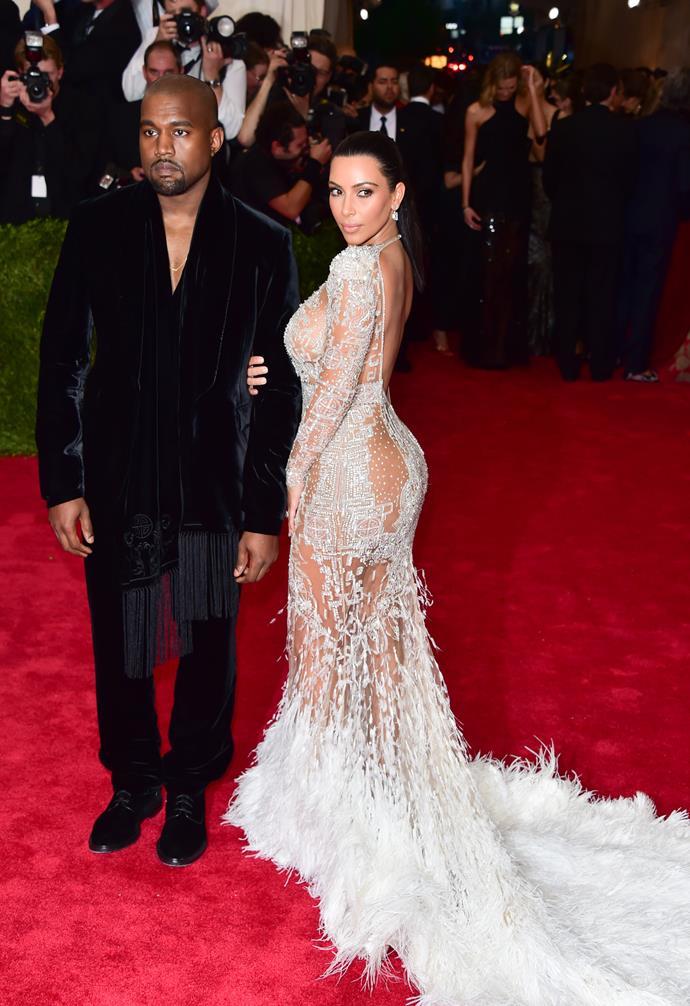 Kim Kardashian and Kanye West at Met Gala in 2015.