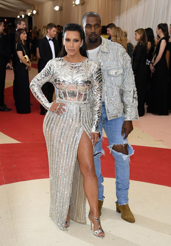 Kim Kardashian and Kanye West had their Balmain moment at the 2016 Met Gala.