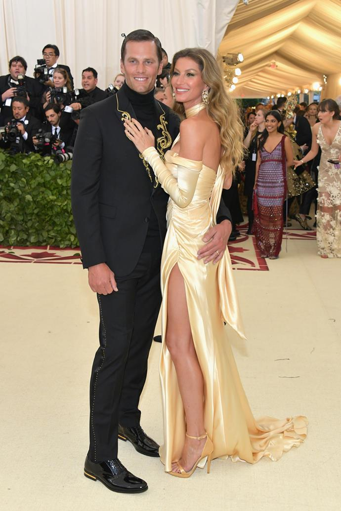 Tom Brady and Gisele Bündchen both in Versace