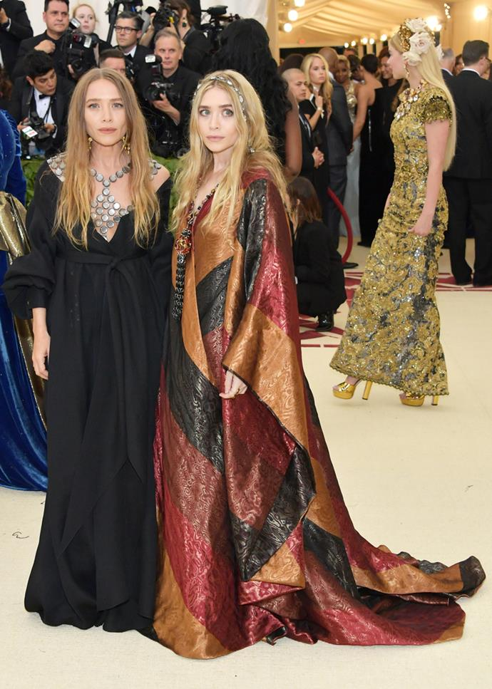Mary-Kate and Ashley Olsen both in vintage Paco Rabanne