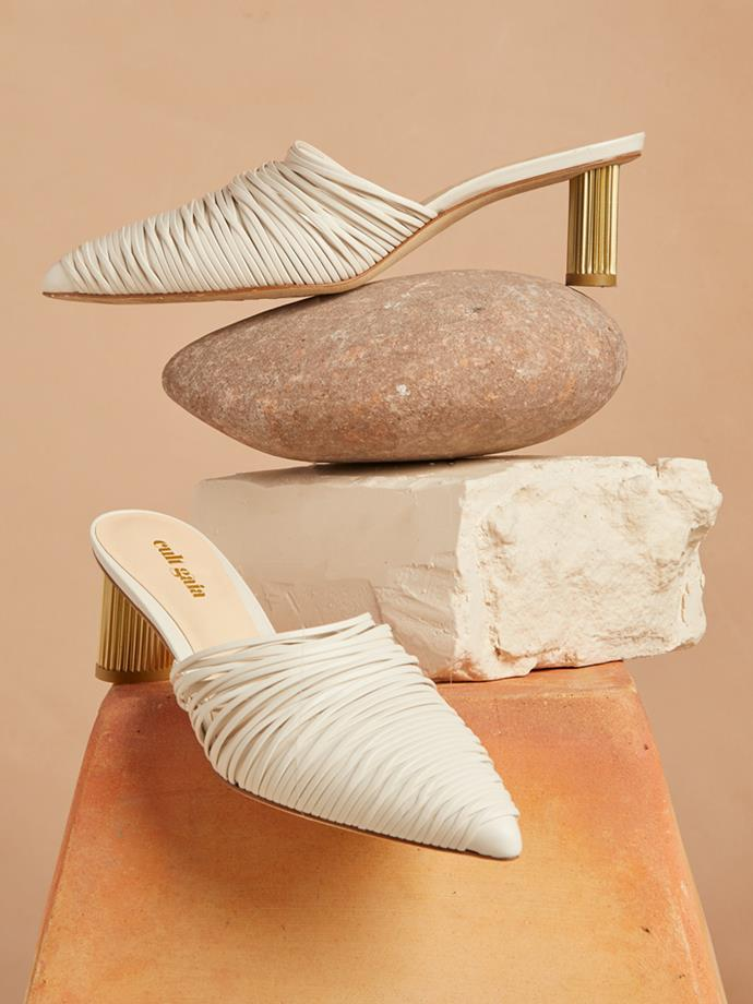 "Sage leather mules, Cult Gaia, $443 at [Net-A-Porter](https://www.net-a-porter.com/au/en/product/1070042/cult_gaia/sage-leather-mules|target=""_blank""|rel=""nofollow"")"