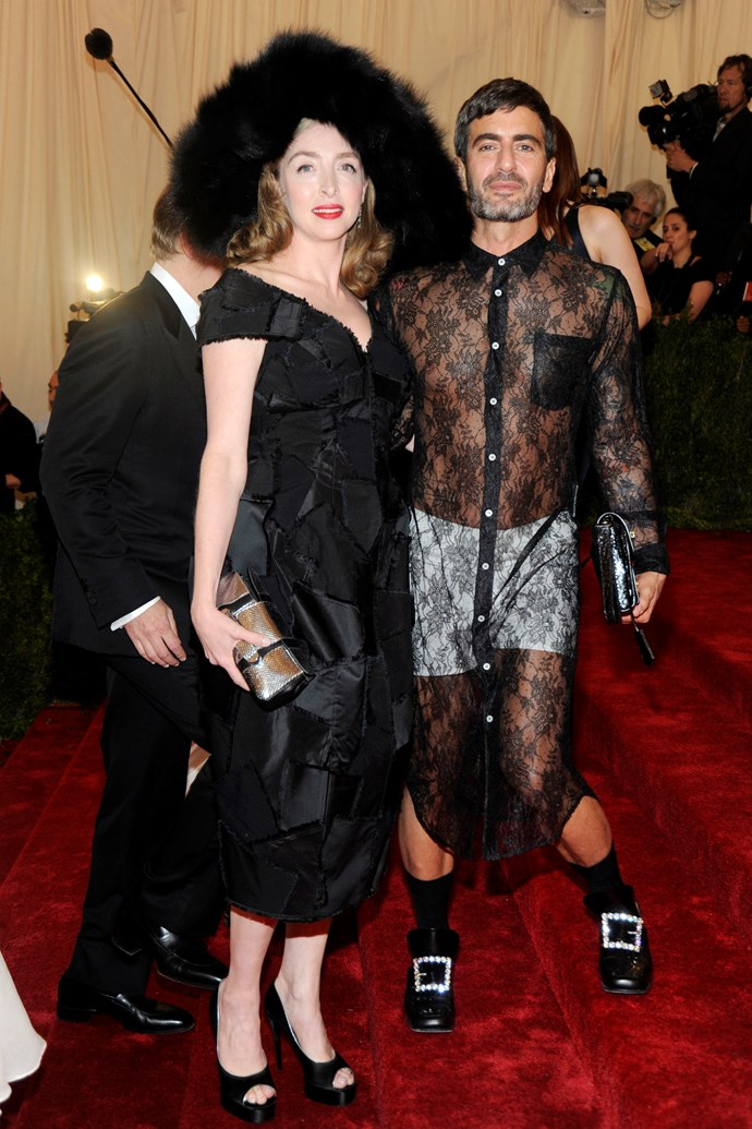"""**2012: MARC JACOBS in Comme des Garçons** <br><br> 'Naked dresses' on female Met attendees are all too common, but Marc Jacobs's 2012 ensemble proved the guys can do it just as dashingly (and controversially).  <br><br> His lace Comme des Garçons look was equal parts pyjama and couture—but Jacobs himself didn't think it was worthy of the craziness, [telling a red-carpet reporter](https://fashionista.com/2012/05/all-the-looks-from-the-2012-met-ball-red-carpet#schiaparelli-and-prada-impossible-conversations-costume-institute-gala-62