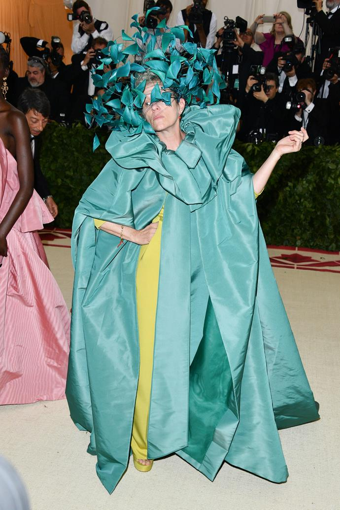 "**2018: FRANCES MCDORMAND in Valentino Couture** <br><br> The term 'fashion idol' isn't the first that springs to mind when discussing two-time Academy Award-winner Frances McDormand, but she ventured to prove otherwise at yesterday's Met Gala.  <br><br> Arriving in an ethereal Valentino Couture gown and headpiece (and a significant ""*I'm having so much fun parodying the absolute sh-t out of these fashion people*"" look on her face), McDormand's IDGAF attitude was on full display—and, by all means, she stole the show."