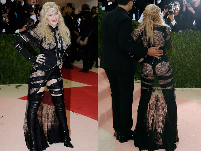 **2016: MADONNA in Givenchy by Riccardo Tisci** <br><br> The Queen of Pop has spawned many a fashion frenzy throughout her lengthy career, and her 2016 Givenchy piece was understandably Madge personified.  <br><br> Her leather-and-lace Givenchy alien-esque extravaganza at the 2016 Met harkened back to her iconic *Erotica* era—and proved that, even when you're pushing 60, not giving a *f-ck* truly knows no age.