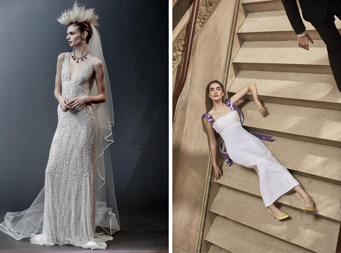 Naeem Khan bridal spring 2019 (left); Carolina Herrera bridal spring 2019 (right).