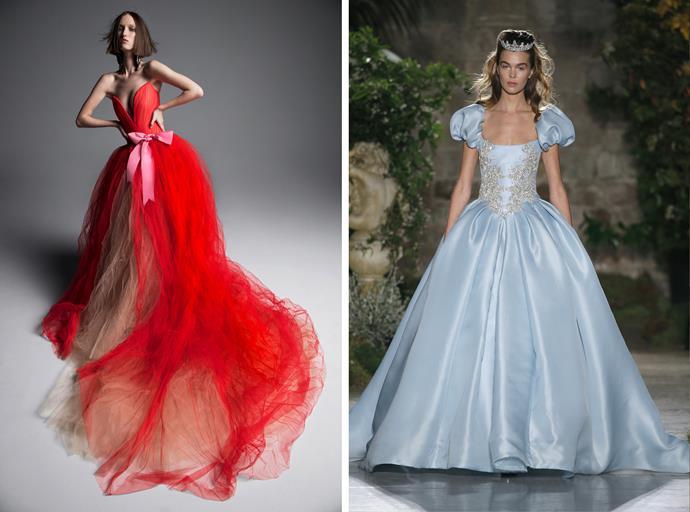 Vera Wang bridal spring 2019 (left); Reem Acra bridal 2019.