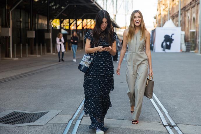 "**Rachel Wayman—Fashion Director** <br><br> Dress: Sir The Label <br><br> Bag: Chanel <br><br> Sneakers: Veja <br><br> **Claudia Jukic—Market Editor** <br><br> Jumpsuit: [Arnsdorf](https://arnsdorf.com.au/collections/jumpsuits/products/winona-pantsuit-white target=""_blank"" rel=""nofollow"")  <br><br> Heels: Rachel Comey <br><br> Bag: [Carolina Domingo](https://www.net-a-porter.com/au/en/product/1040212/Carolina_Santo_Domingo/petra-mini-textured-leather-tote target=""_blank"" rel=""nofollow"")"