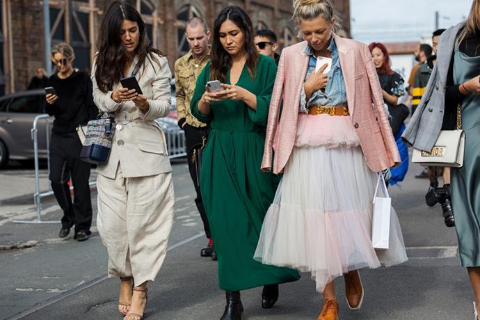 "**Rachel Wayman—Fashion Director** <br><br>Suit Jacket: [Albus Lumen](https://www.matchesfashion.com/au/products/Albus-Lumen-Serge-linen-blazer-1178051 target=""_blank"" rel=""nofollow"") <br><br> Suit Trousers: Albus Lumen <br><br>Bag: Chanel <br><br>Heels: Alexander Wang <br><br> **Justine Cullen—Editor-in-Chief** <br><br> Dress: Stella McCartney <br><br> Bag: Chloé <br><br> Boots: Céline"