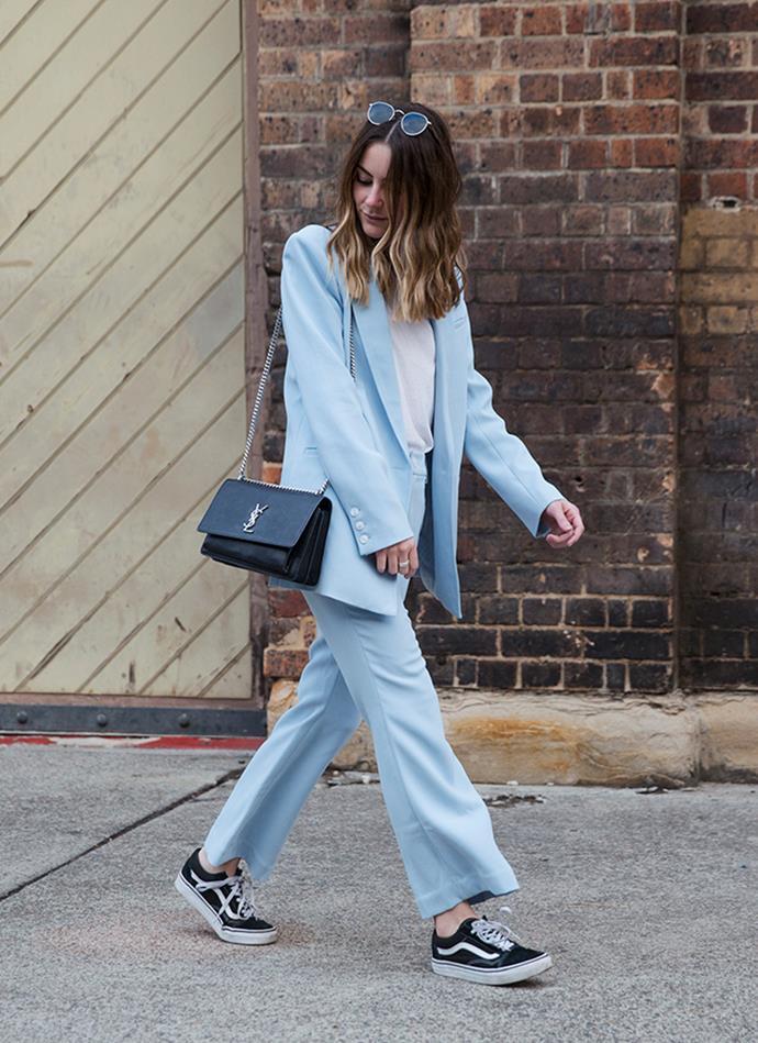 "**Natasha Harding—Digital Fashion Writer** <br><br> Suit Jacket: Laveer, at [Shopbop](https://www.shopbop.com/boyfriend-blazer-laveer/vp/v=1/1535829617.htm?folderID=13418&fm=other-shopbysize-viewall&os=false&colorId=84033 target=""_blank"" rel=""nofollow"") <br><br> Suit Trousers: Laveer, at [Shopbop](https://www.shopbop.com/cropped-annie-pant-laveer/vp/v=1/1512933528.htm?fm=crosssell&os=false#size-chart-section target=""_blank"" rel=""nofollow"") <br><br> Bag: Saint Laurent <br><br> Shoes: Vans <br><br> Sunglasses: Bailey Nelson"