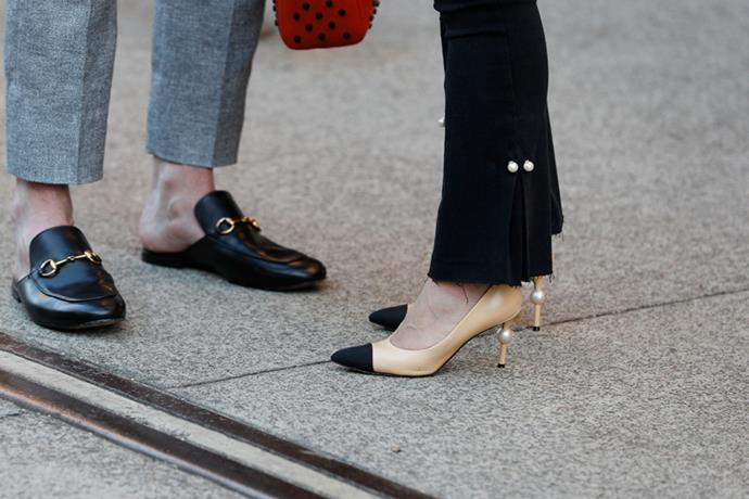 Gucci loafers and Chanel pumps