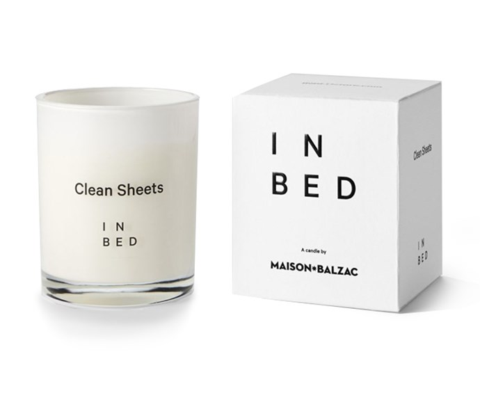 Clean Sheets Candle by Maison Balzac for In Bed, $49, at [In Bed Store](https://inbedstore.com/shop/candles/clean-sheets-candle-by-maison-balzac-for-in-bed/?v=6cc98ba2045f#).