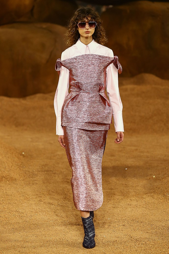 **Camilla and Marc** <br><br> **Why everyone was talking about it:** Camilla and Marc's extraterrestrial runway show kicked off fashion week with a bang. The Mars-inspired set, dusted in red earth, perfectly contrasted against this modern metallic masterpiece.