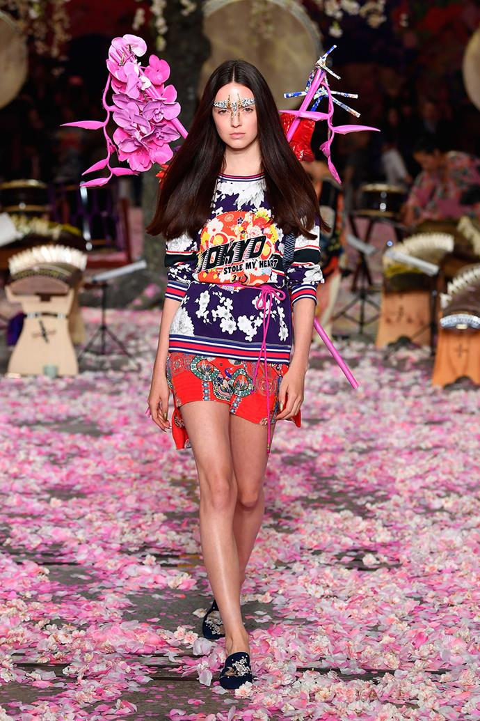 **Camilla** <br><br> **Why everyone was talking about it:** Camilla's closing show was the definition of 'spectacular'. The Japanese-inspired set, complete with a cherry blossom tree halfway down the runway, offered a preview of the show's extravagant aesthetic. This look effortlessly marries Tokyo street culture with more traditional floral prints.