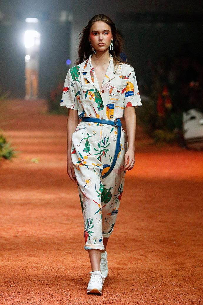 **Client Liaison** <br><br> **Why everyone was talking about it:** Client Liaison's debut show, complete with a surprise performance by the musicians after the runway, raised the bar for the remaining shows. The duo's considered approach to '80s Australiana themes went down a treat, with this printed jumpsuit paying homage to everything from wattles to your dad's esky.