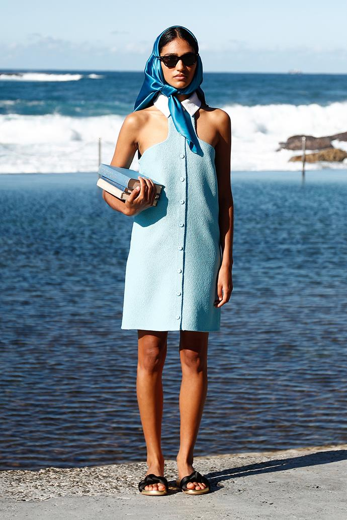 **Emilia Wickstead x MATCHESFASHION.COM** <br><br> **Why everyone was talking about it:** Set in Coogee's beautiful Wylie's Baths, Emilia Wickstead expertly combined '70s poolside glamour with modern, floral prints and feminine silhouettes. This elegant day dress, complete with a silky cerulean headscarf, perfectly punctuated the vintage feel.