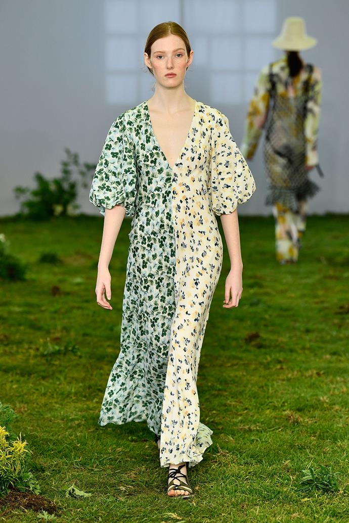 **Lee Mathews** <br><br> **Why everyone was talking about it:** Lee Mathews has been doing elevated daytime florals since way before Brock Collection burst onto the scene, so everyone was understandably excited to see this season's newest collection. And they didn't disappoint. Their floral gowns are pure heaven, with this dual-print day dress, with exaggerated puffy sleeves, making its way onto many a wishlist.