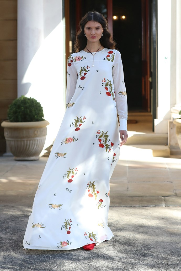 **Macgraw** <br><br> **Why everyone was talking about it:** Known for their youthful elegance, Macgraw's runway was nothing less than flawless. This fresh, billowing botanical gown was a show-stopper from the moment it hit the runway.