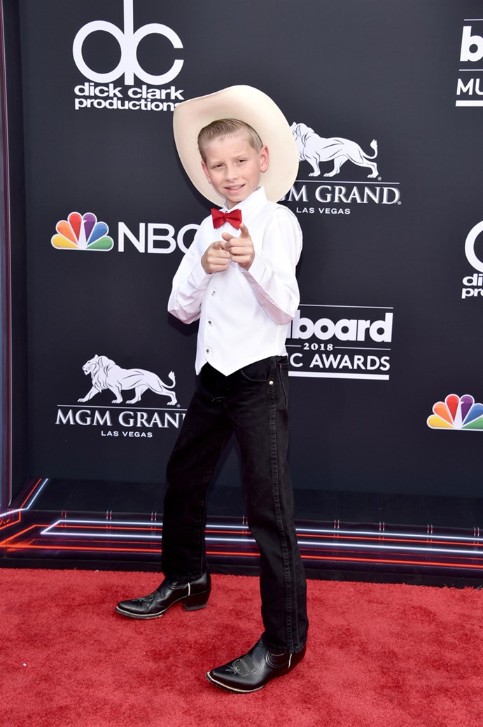 Mason Ramsey (AKA, the Walmart 'yodelling' kid) at the 2018 Billboard Awards.