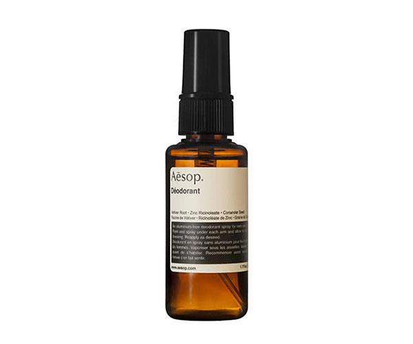 """Deodorant is a no-brainer. This spray-on is free from aluminium and won't clash with your perfume or dry out sensitive skin.  <br><br> Aesop Deodorant, $35, at [Adore Beauty](https://www.adorebeauty.com.au/aesop/aesop-deodorant.html