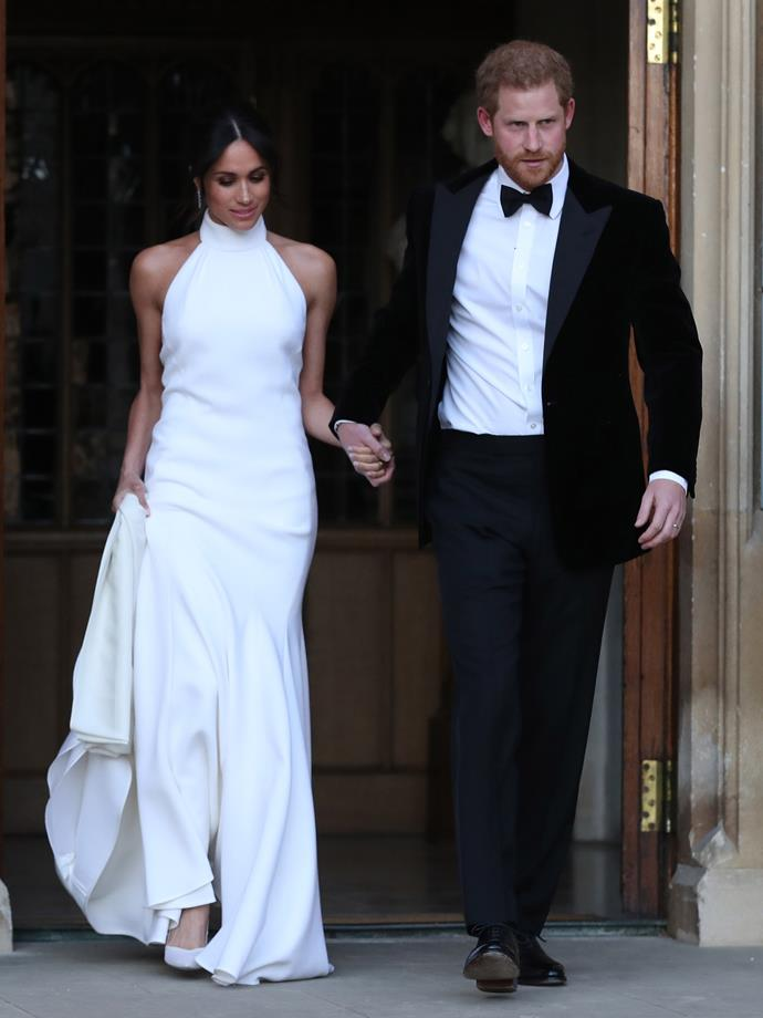Markle in custom Stella McCartney en route to her wedding reception on May 19.