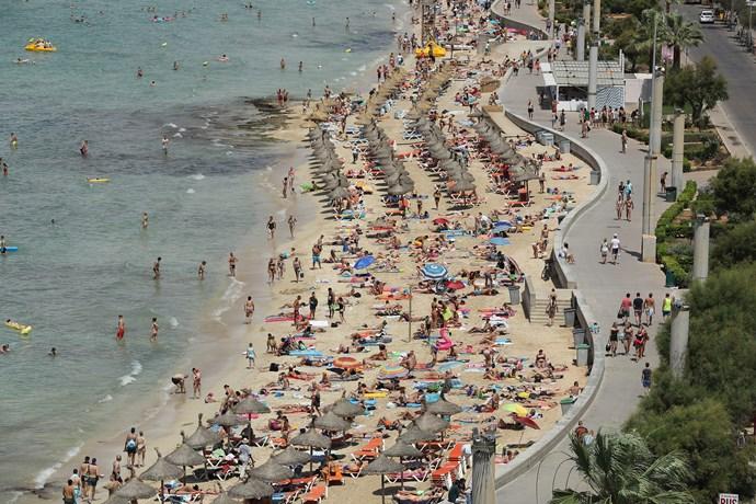 The beach at Palma De Mallorca in Majorca.
