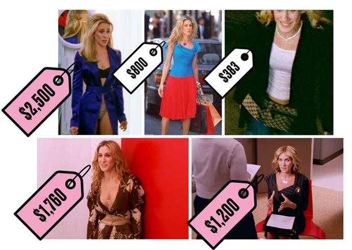 Clockwise from top left: Dolce & Gabbana ensemble, $2,500; Tracy Feith outfit, $800; Gucci fanny pack, $383; Vivienne Westwood suit, $1,200; Chloé horse wrap dress, $1,760