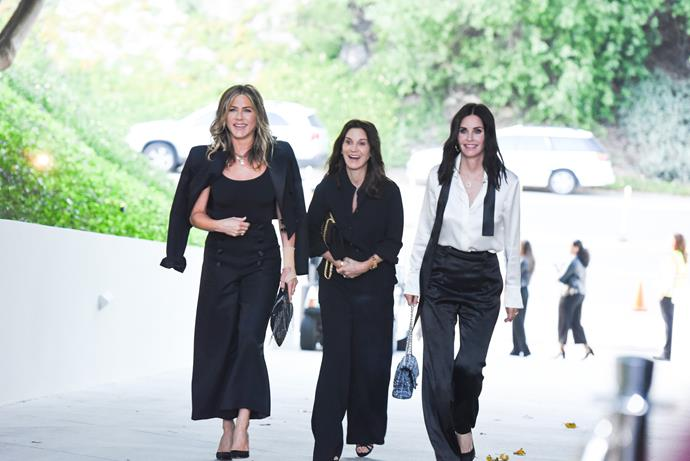 Jennifer Aniston and Courteney Cox arriving at the Chanel 'Celebrating Our Majestic Oceans' dinner.