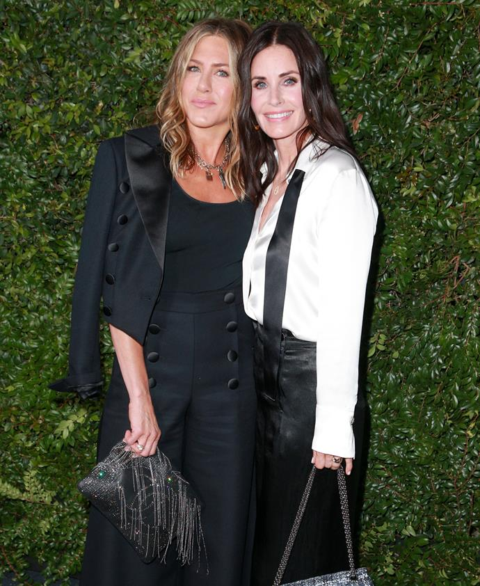 Jennifer Aniston and Courteney Cox at the Chanel 'Celebrating Our Majestic Oceans' dinner.