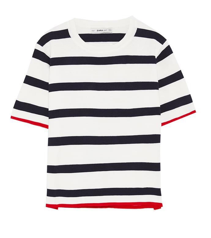 "Tee, $46 at [Zara](https://www.zara.com/au/en/short-sleeve-sweater-p06254811.html?v1=6579039&v2=1010574|target=""_blank""|rel=""nofollow"")"