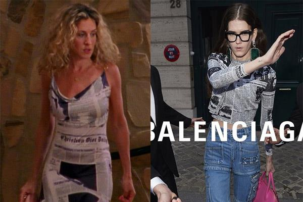 **NEWSPAPER-THEMED GARMENTS** <br><br> Balenciaga's 2018 iteration is memorable, but Carrie's Dior by Galliano slip-dress was one of the most show's most historic sartorial moments. Getting lunch with your ex-boyfriend's new wife (who's marriage you ruined) should *always* look this chic.