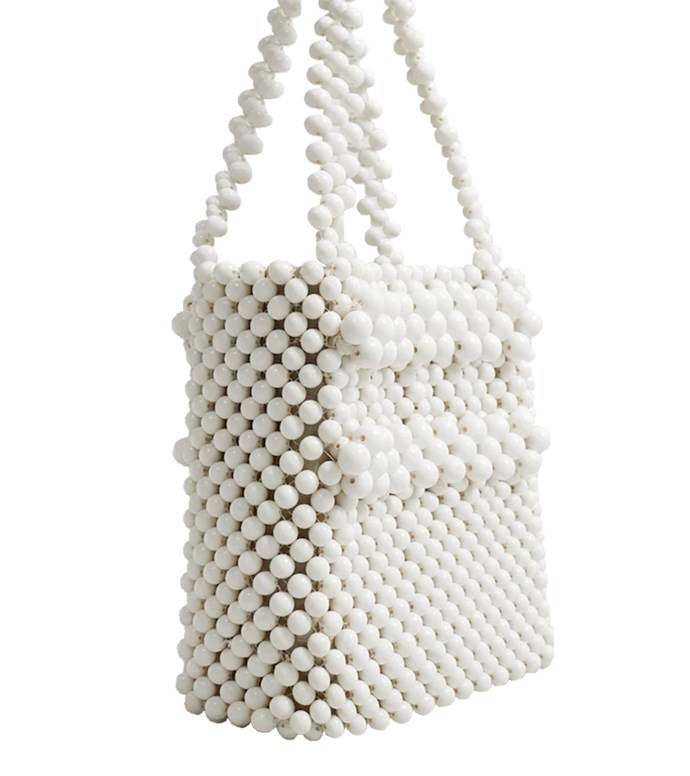 "Bag $130 at [Mango](https://shop.mango.com/au/women/bags-handbags/beaded-shopper-bag_33080844.html?c=01&n=1&s=accesorios.accesorio;40,340,440|target=""_blank""