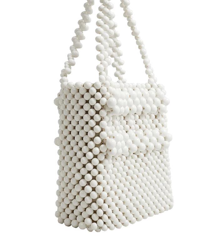 "Bag $130 at [Mango](https://shop.mango.com/au/women/bags-handbags/beaded-shopper-bag_33080844.html?c=01&n=1&s=accesorios.accesorio;40,340,440|target=""_blank""|rel=""nofollow"")"