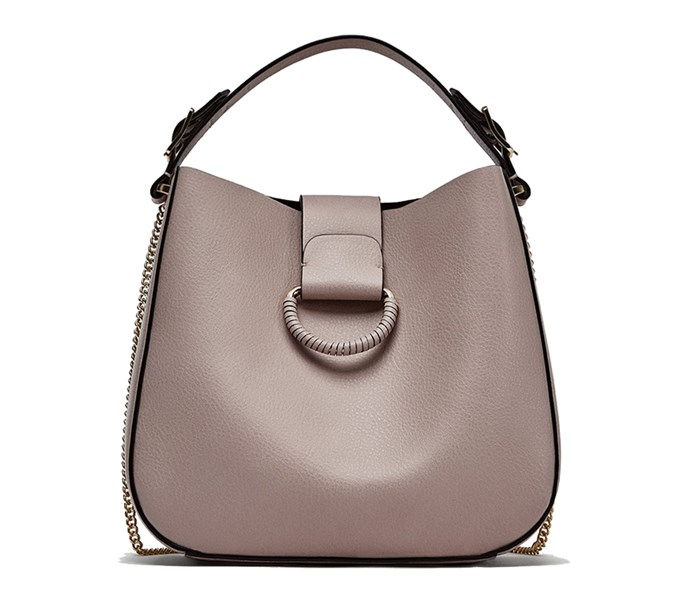 "Bag, $40 at [Zara](https://www.zara.com/au/en/medium-bucket-bag-with-hoop-p13107304.html?v1=5658678&v2=1010070|target=""_blank""