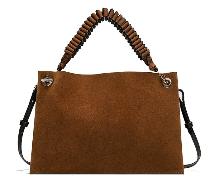 "Bag, $119 at [Zara](https://www.zara.com/au/en/split-suede-clutch-with-strap-detail-p11310384.html?v1=5660474&v2=1010070|target=""_blank""