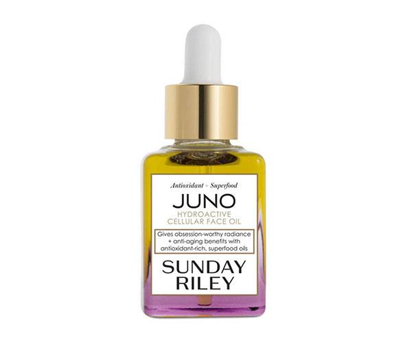"""**The Facial Oil** <br><br> This Sunday Riley facial oil contains superfood seed oils that calm, soothe and protect the skin. It's basically a green juice for your complexion.  <br><br> Sunday Riley Juno Hydroactive Cellular Face Oil, $59, at [Revolve](https://rstyle.me/n/c5rw4pvs36 target=""""_blank"""")."""