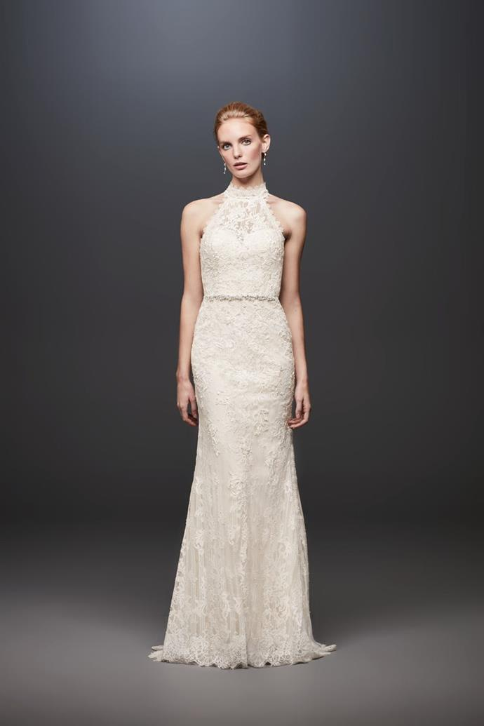 Lace high neck halter sheath wedding dress by Melissa Sweet