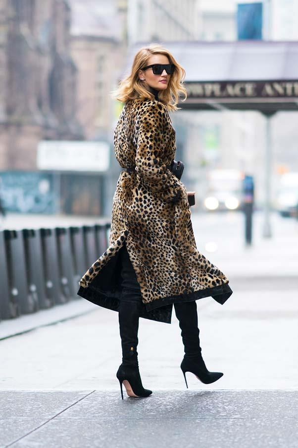 **The leopard wrap-around** <br><br> Who wants to shrink into the background? We say go all-out glamour à la Rosie HW in a statement leopard print coat. Pair with all-black for maximum impact.