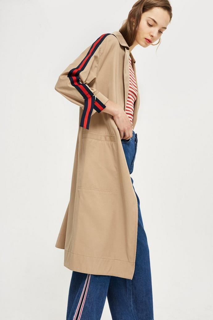 """**Buy**: Trench coat by Topshop, approx. $116 at [Topshop](http://www.topshop.com/en/tsuk/product/clothing-427/jackets-coats-2390889/side-stripe-trench-coat-7620887?bi=80&ps=20