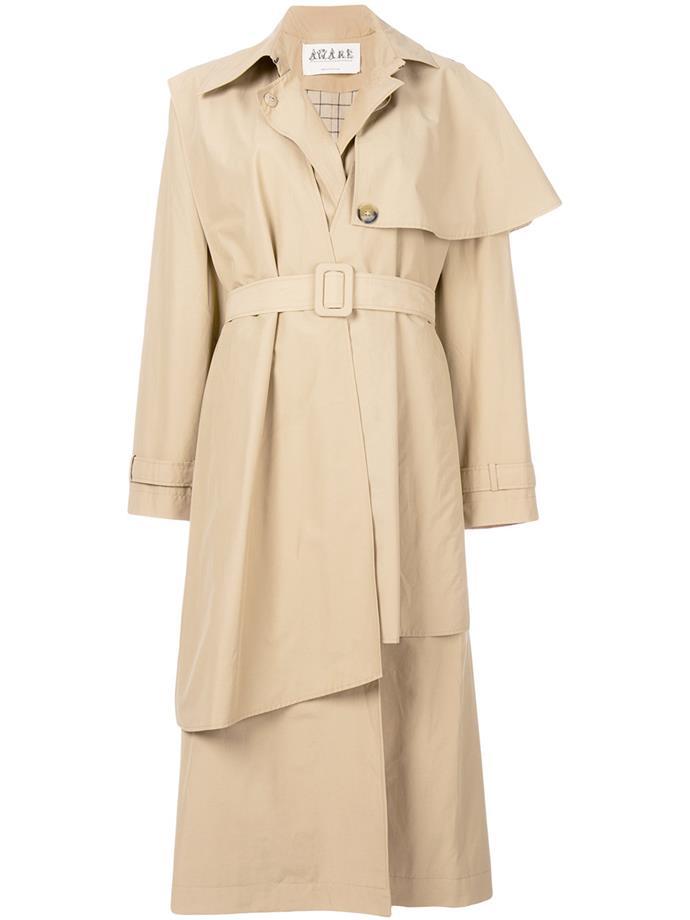 "Coat by A.W.A.K.E, $1,377 at [Farfetch](https://www.farfetch.com/au/shopping/women/a-w-a-k-e--asymmetric-trench-coat-item-12627327.aspx?storeid=10600|target=""_blank""|rel=""nofollow"")"