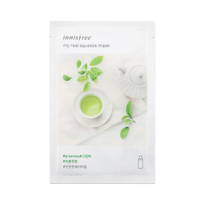 "**Innisfree Green Tea My Real Squeeze Mask, $2 each at [Innisfree](http://www.innisfreeworld.com/product/productView.do?prdSeq=11088#|target=""_blank""