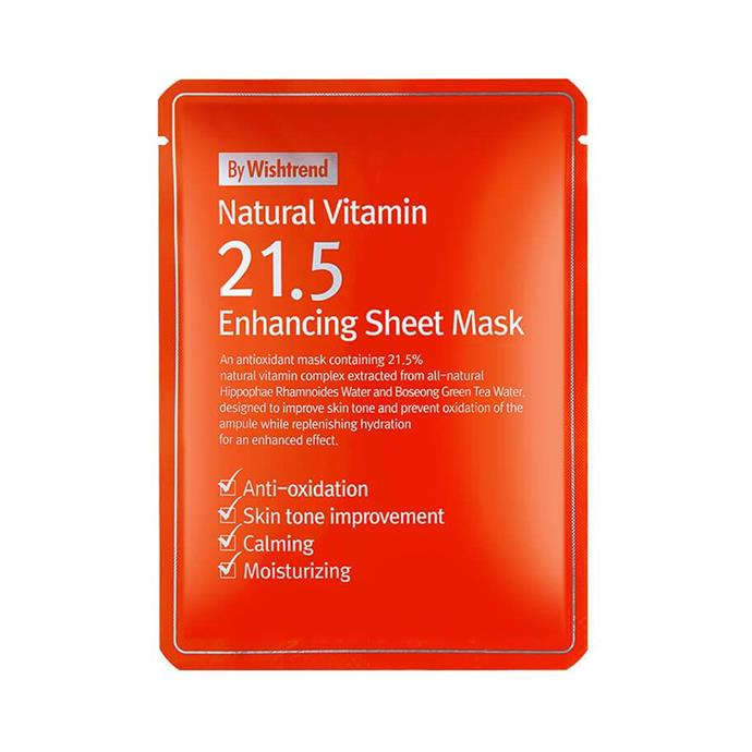 "**By Wishtrend Natural Vitamin C21.5 Enhancing Sheet Mask, $6 each at [Nudie Glow](https://nudieglow.com/collections/masks/products/by-wishtrend-natural-vitamin-c21-5-enhancing-sheet-mask|target=""_blank""