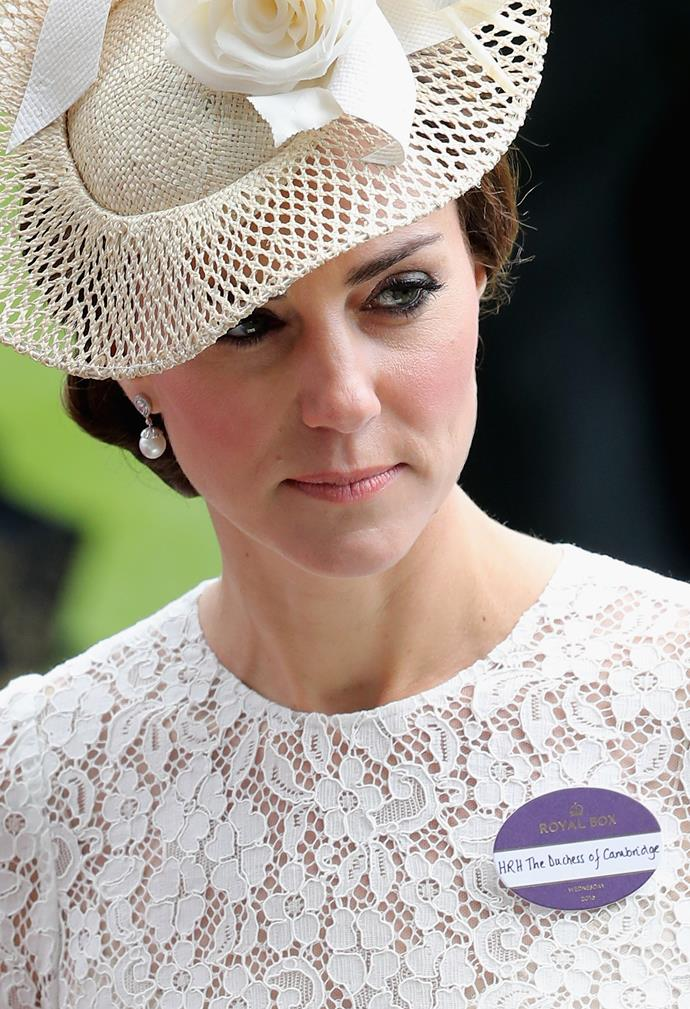 The Duchess of Cambridge wearing her pin in recent years.