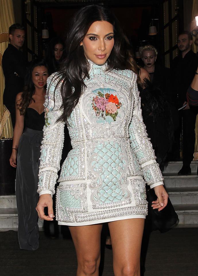 Kim Kardashian in Balmain in 2014.