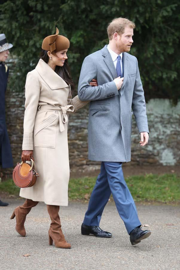 In a Sentaler wrap coat at the royal family's Christmas Day service, December 2017.