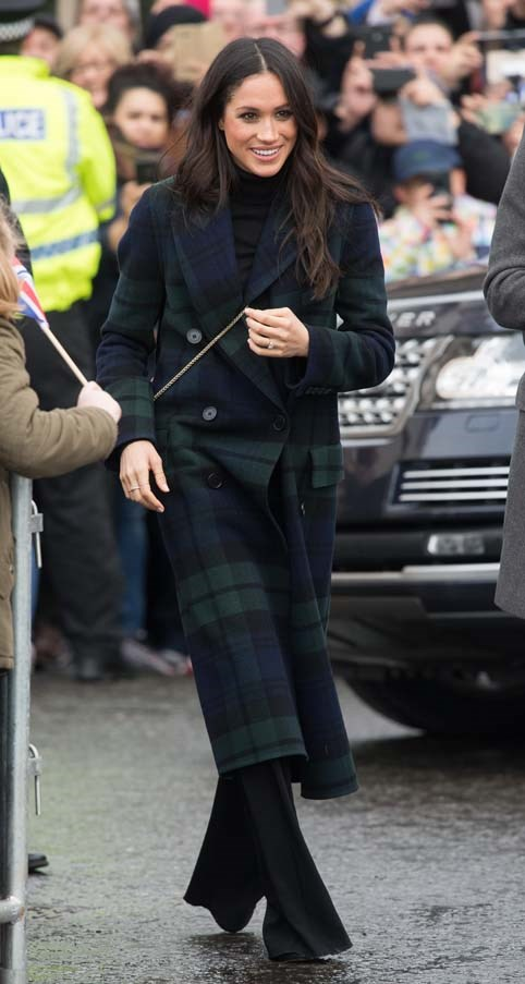 In a Burberry coat during a tour of Scotland, February 2018.