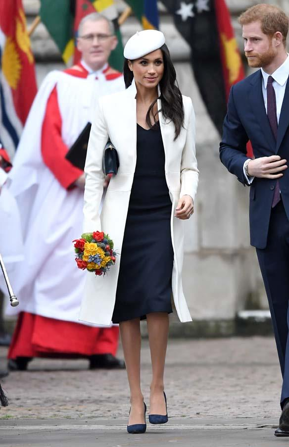 In Amanda Wakeley at the Commonwealth Day service in London, March 2018.