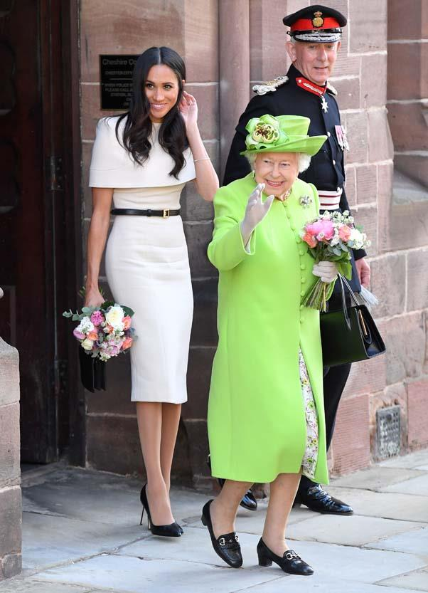 In Givenchy with Queen Elizabeth II at Chester City Hall, June 2018.